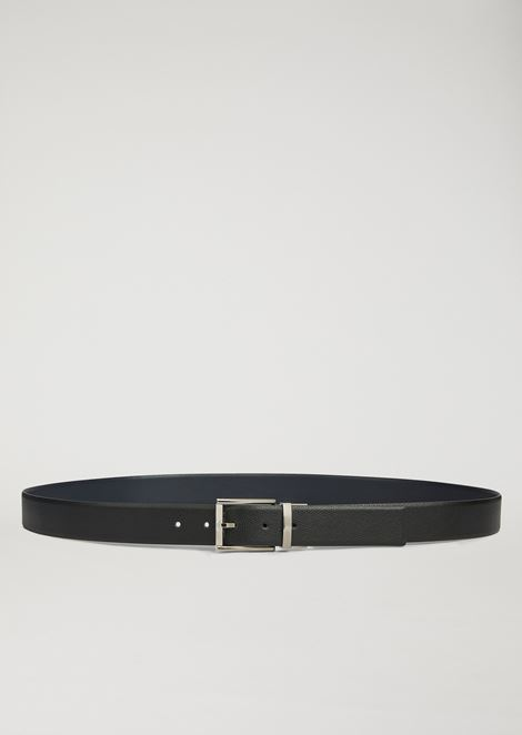 Reversible belt in printed boarded leather and smooth leather