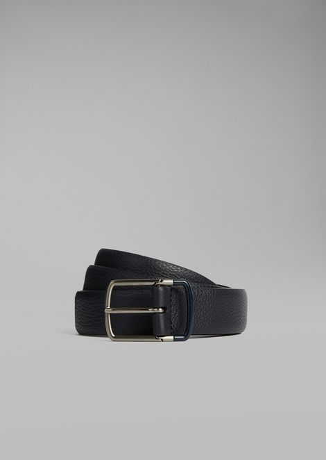 Grainy calfskin leather belt with two-tone buckle