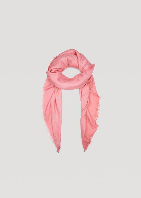 Modal blend scarf with jacquard logo and fringe