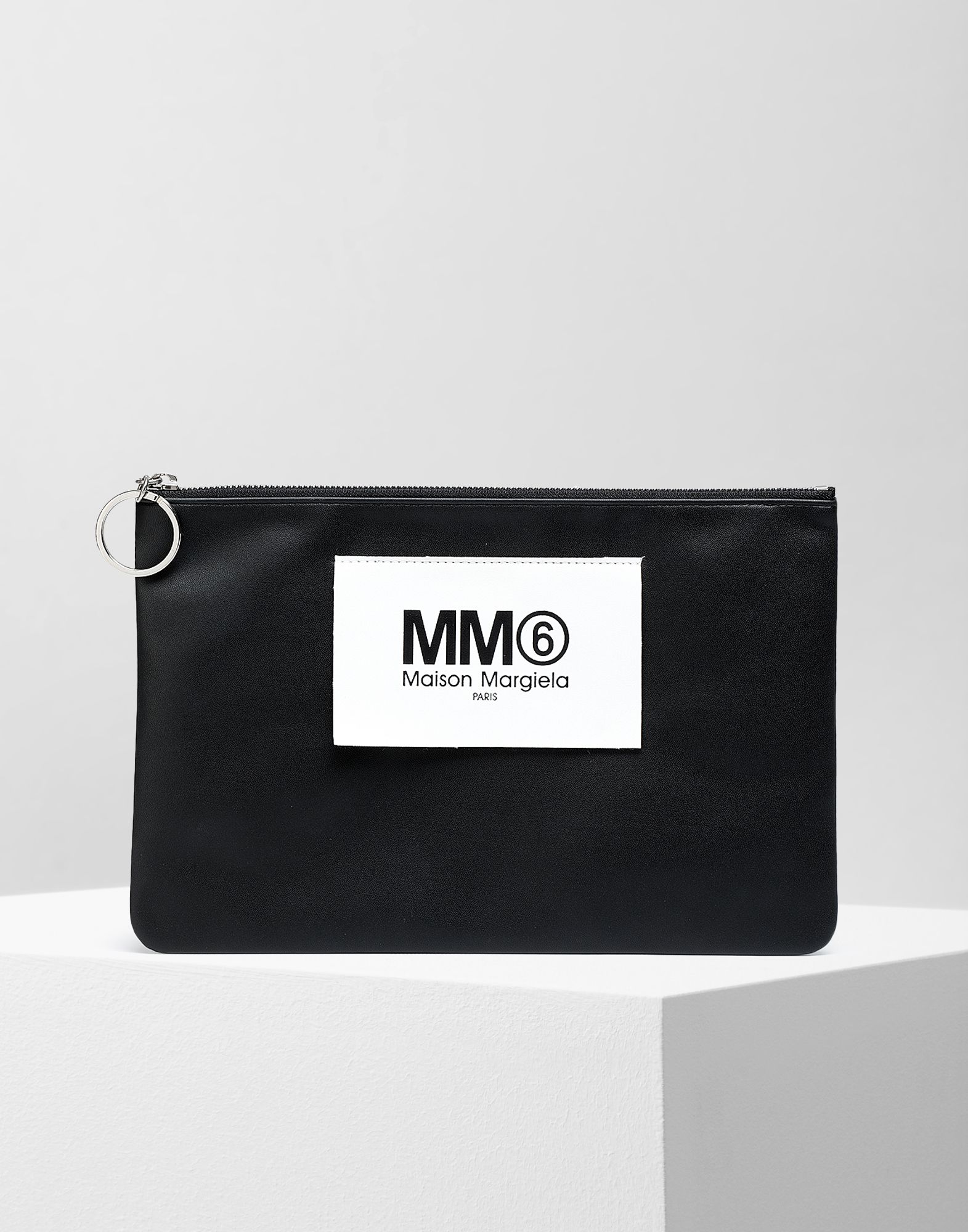 MM6 MAISON MARGIELA Logo tab zip leather pochette Key ring Woman f