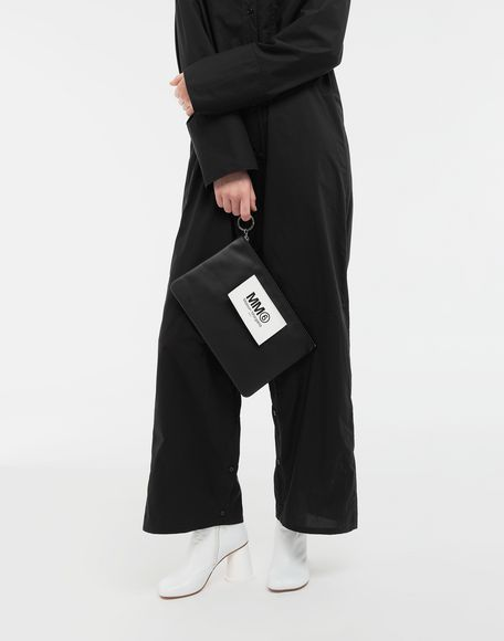 MM6 MAISON MARGIELA Logo tab zip leather pochette Key ring Woman b