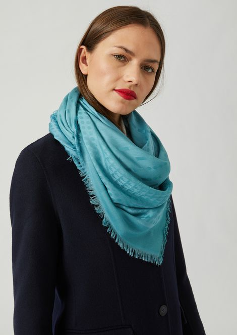 Modal blend scarf with jacquard logo and fringe