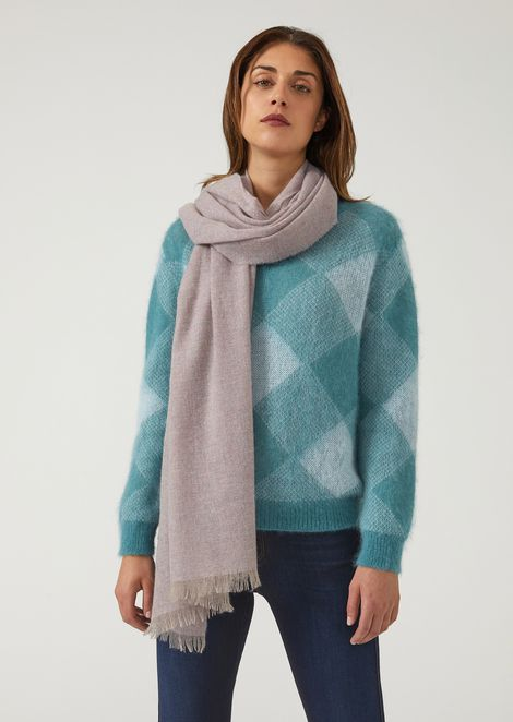 Pure cashmere scarf with fringe