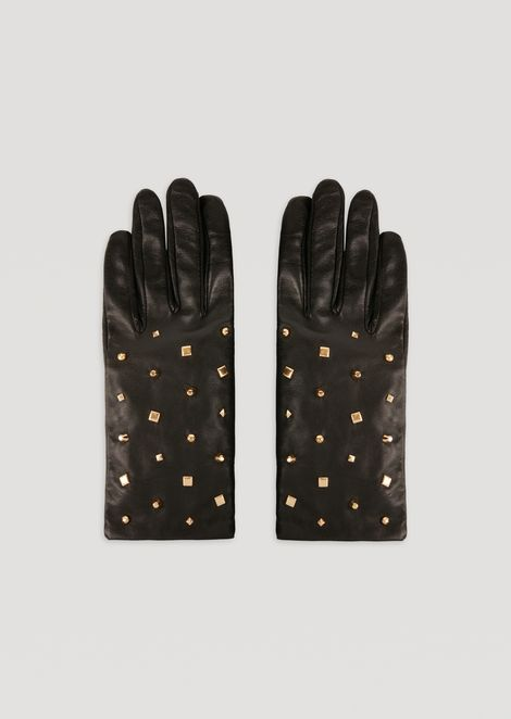 Leather gloves with decorative stud details