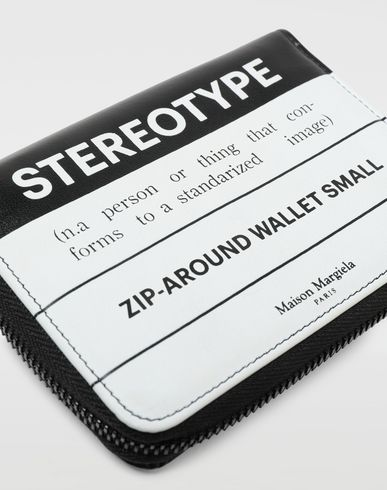 ACCESSORIES Stereotype-print leather zip wallet Black