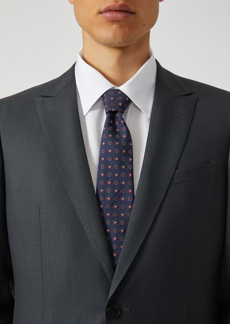 Silk blend tie with jacquard pattern