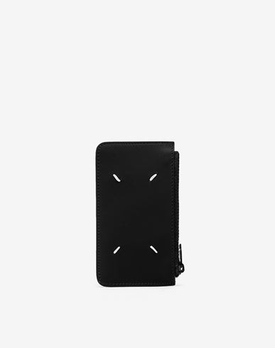 ACCESSORIES Logo tab reflective leather wallet Black