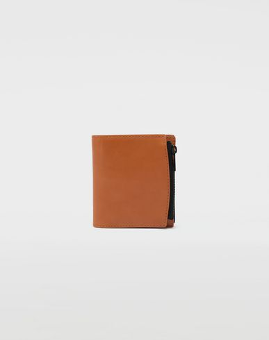 Medium fold-out leather zipped wallet