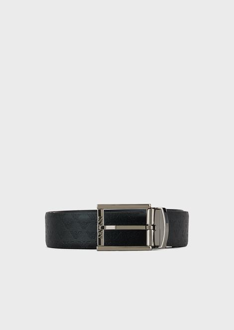 Reversible belt in all-over printed leather and smooth leather