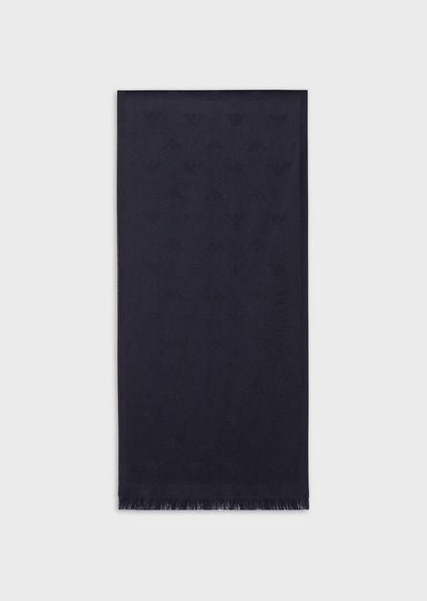 Écharpe en pure laine avec aigles brodés ton sur ton de41d1de4cc