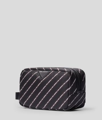 KARL LAGERFELD K/STRIPE LOGO TOILETRIES CASE