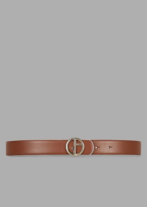 Cintura reversibile in pelle con logo in metallo