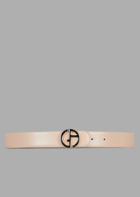 Reversible belt in leather with metal logo