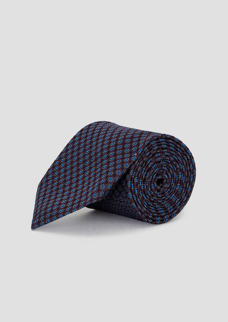 Pure silk tie with multicolor pattern