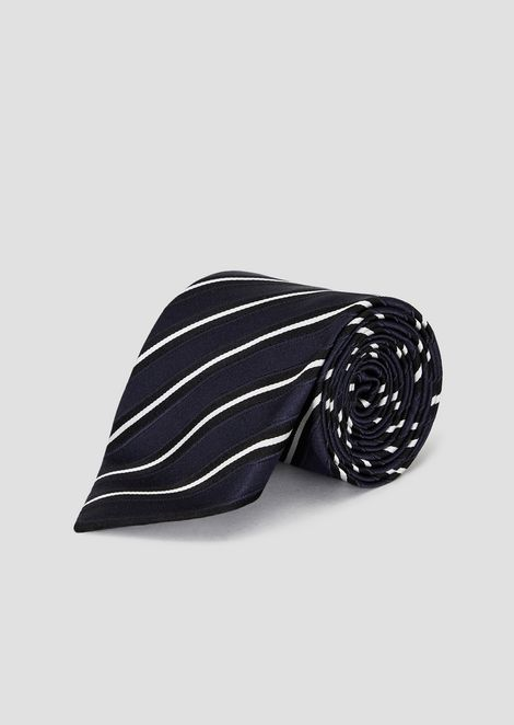Silk and cotton tie with stripe motif