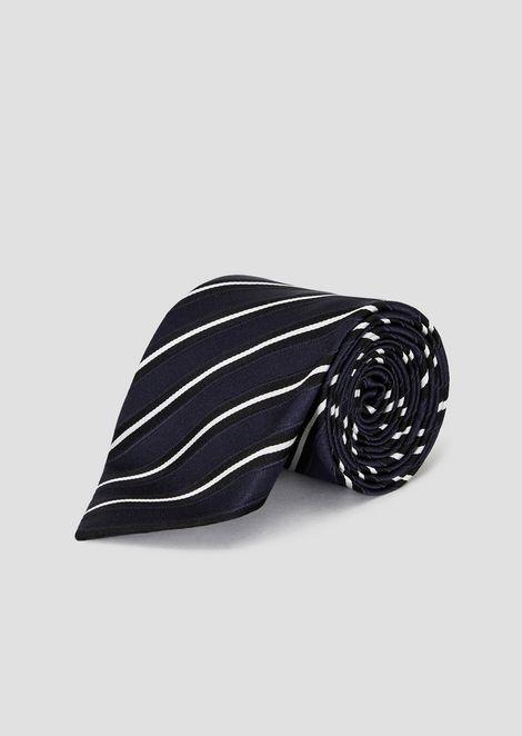 Krawatte aus Seide und Baumwolle in Streifenmuster