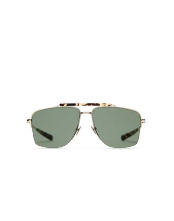 Gold and Havana Caravan Sunglasses with Green Lenses