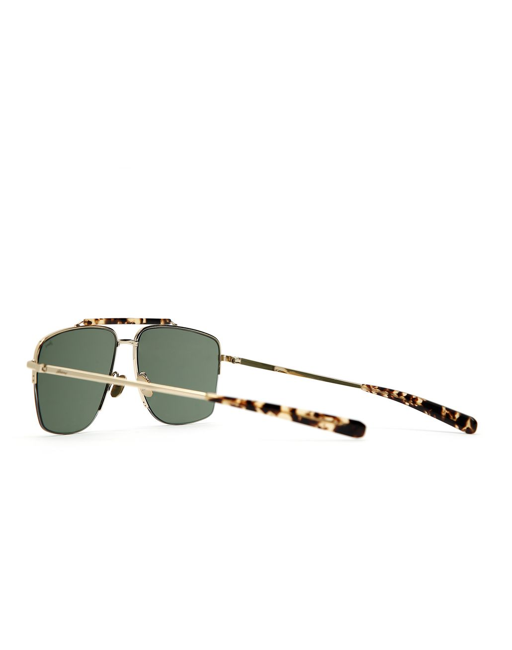 BRIONI Gold and Havana Caravan Sunglasses with Green Lenses Sunglasses Man d