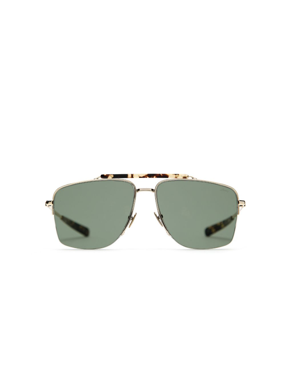 BRIONI Gold and Havana Caravan Sunglasses with Green Lenses Sunglasses Man f