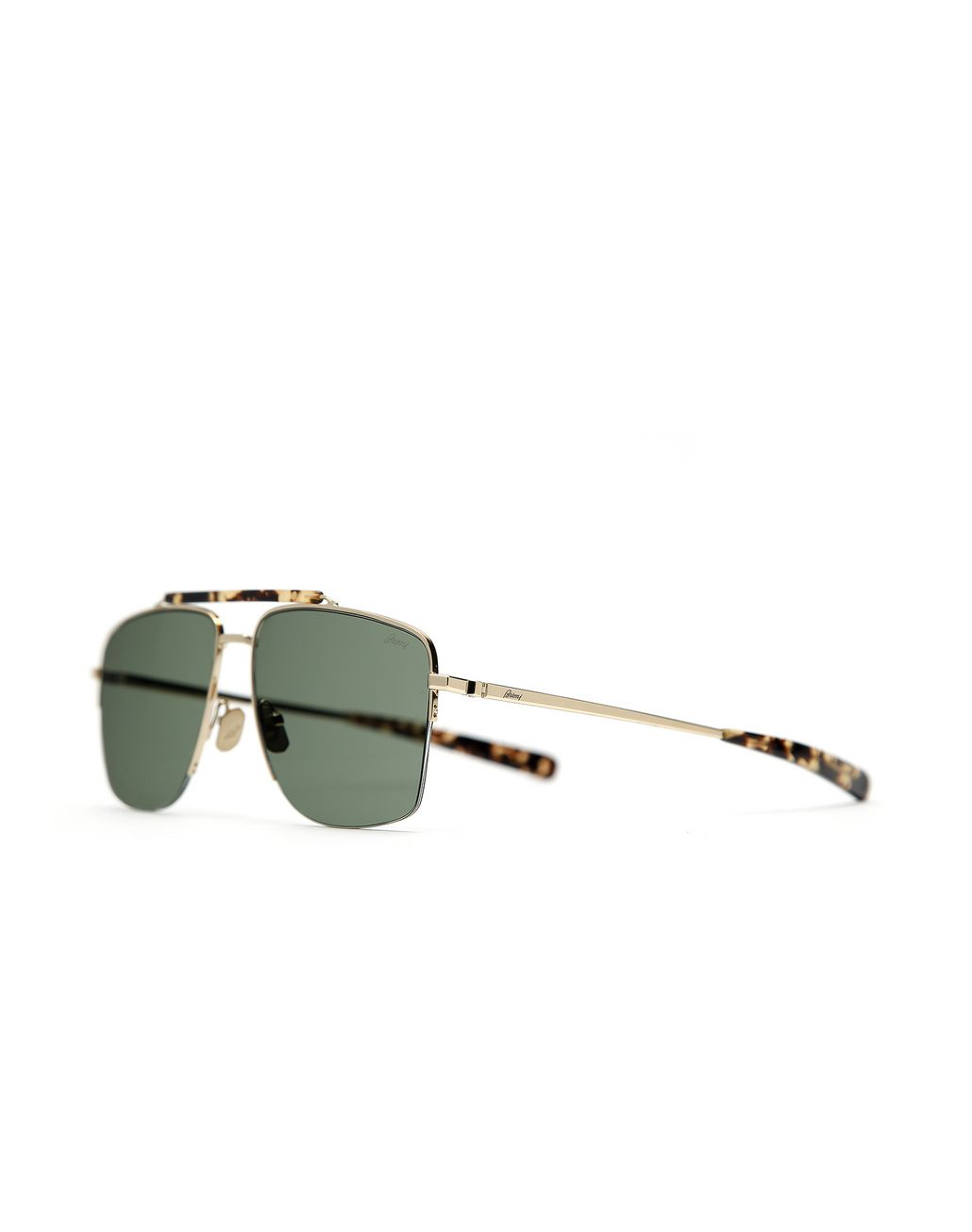 BRIONI Gold and Havana Caravan Sunglasses with Green Lenses Sunglasses Man r
