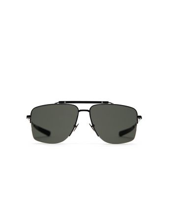 Gunmetal and Black Caravan Sunglasses with Gray Lenses