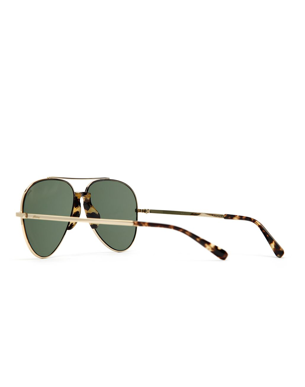 BRIONI Gold and Havana Pilot Sunglasses with Green Lenses Sunglasses Man d