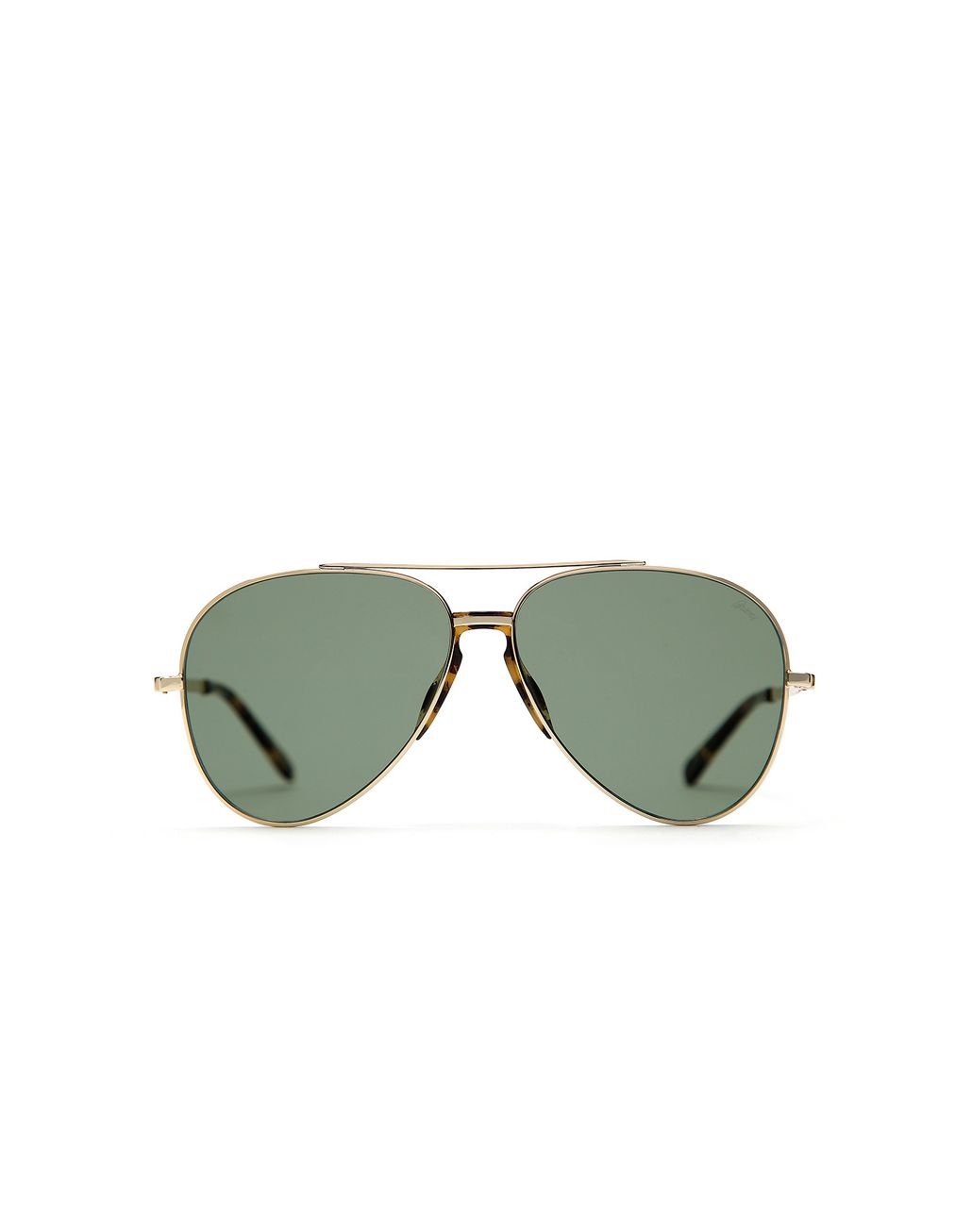 BRIONI Gold and Havana Pilot Sunglasses with Green Lenses Sunglasses Man f