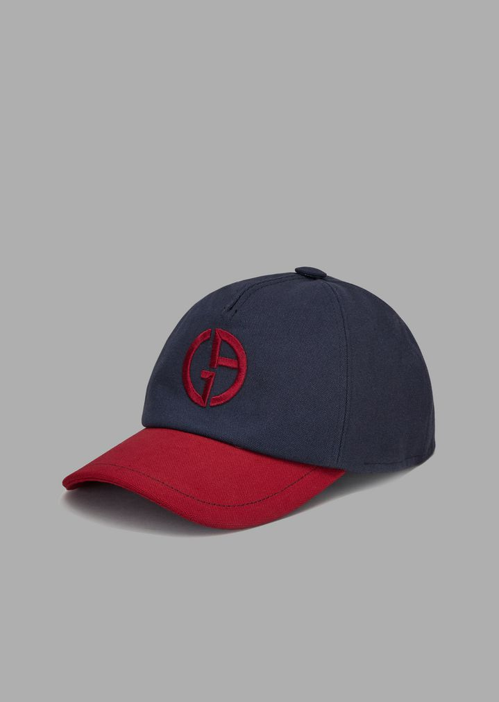 19d9a33d Cotton hat with peak and embroidered logo   Man   Giorgio Armani