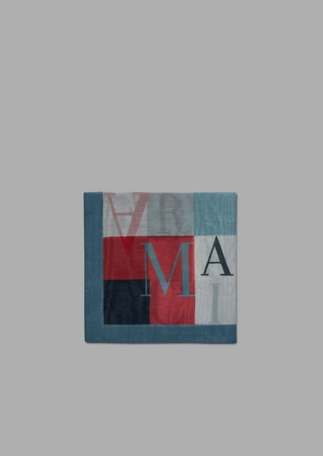 Square cotton and silk foulard with lettering motif