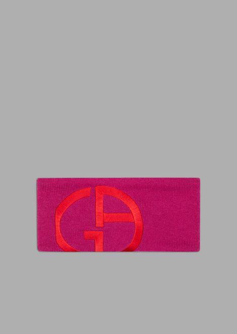 Stirnband aus Kaschmir mit aufgesticktem Logo