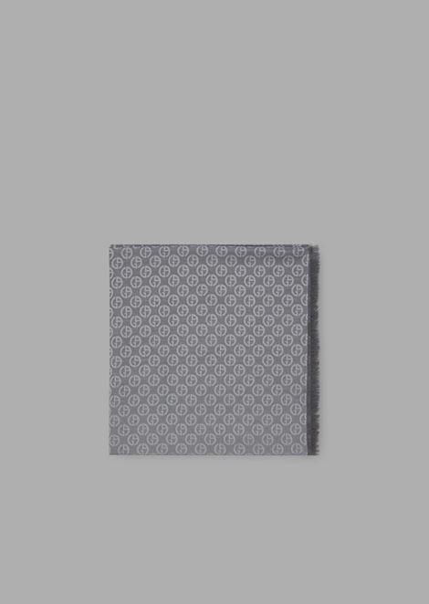 Foulard quadrato in seta e cotone a fantasia logo