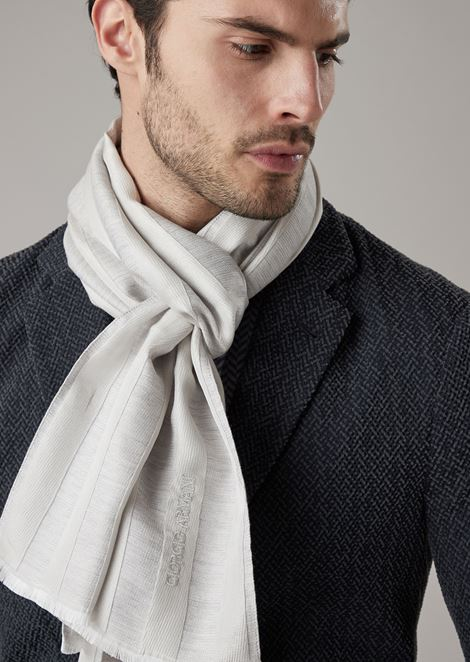 Silk and wool foulard with horizontal bands in different fabrics