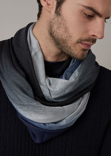 Square foulard in faded colour fabric