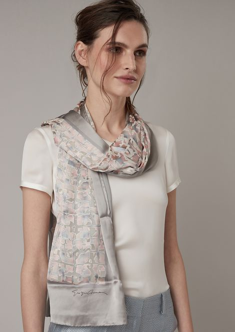 Pure silk headscarf with central abstract pattern section and solid colour edging
