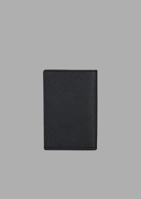 Grainy leather card holder