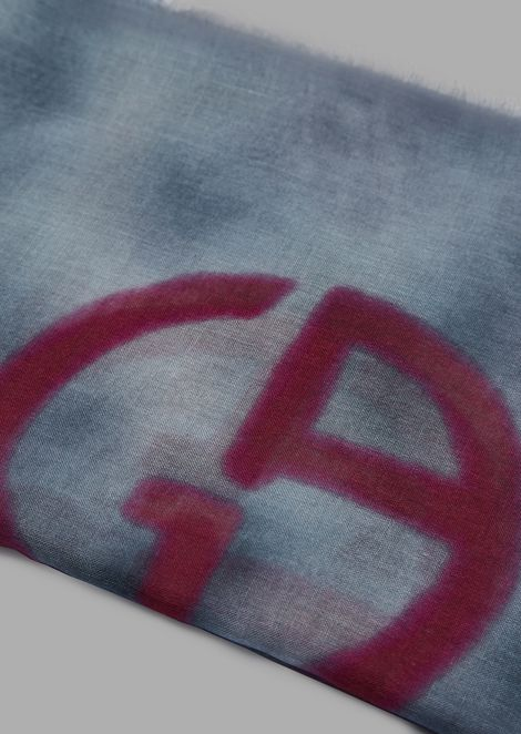 Foulard in modal and cashmere with tie-dye motif and logo