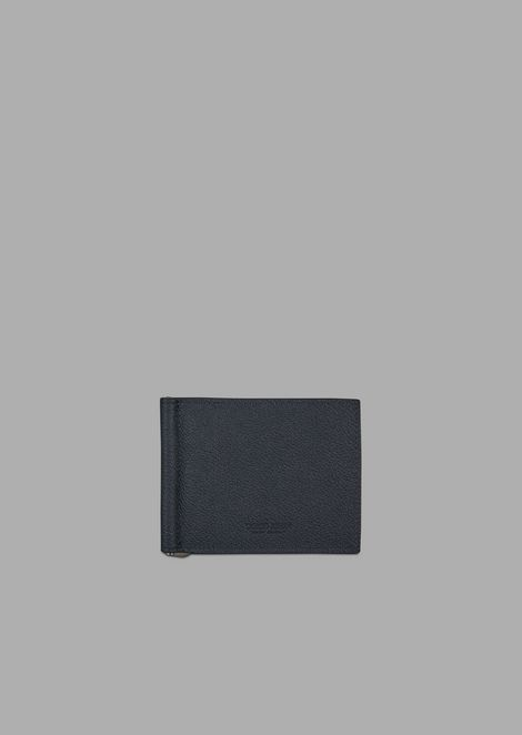 Grainy leather wallet with money clip