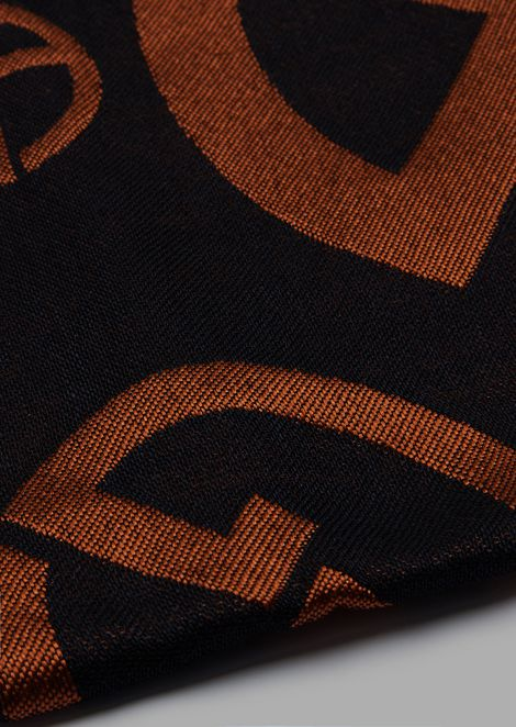 Square foulard with central logo pattern
