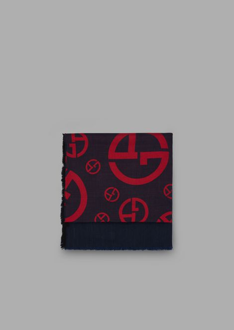 Square scarf with central logo pattern