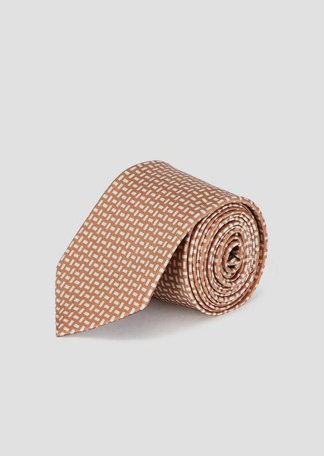 Pure silk tie with two-color pattern