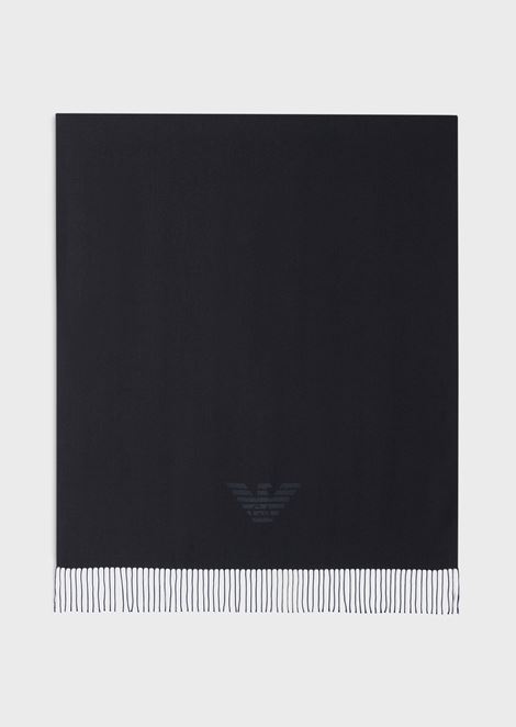 Stole with fringes and Emporio Armani logo