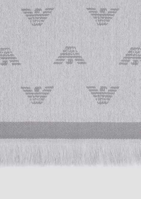 Pure wool scarf with embroidered tone-on-tone eagles