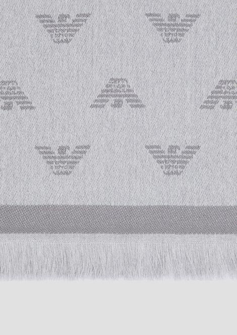 Schal aus reiner Wolle mit Ton-in-Ton gestickten Adlern