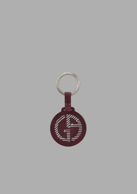 Round leather keyring with pierced logo