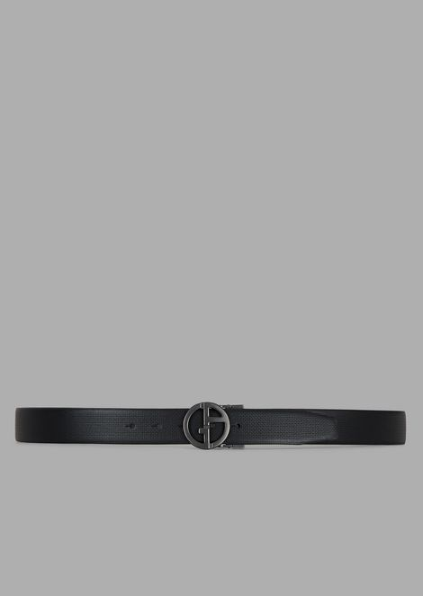 Belt in micro woven leather with GA logo