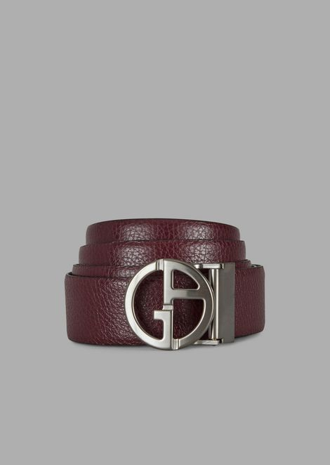 Grained leather belt with GA logo