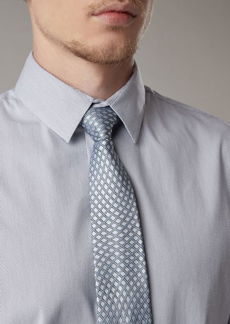 Cravatta in seta jacquard motivo geometrico