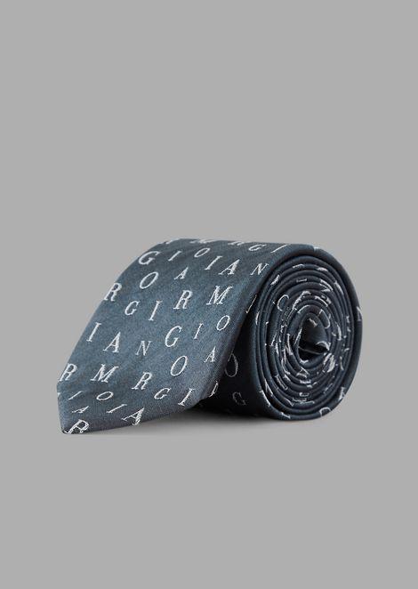 Cravatta in seta con motivo lettering