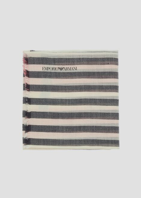 Stole in fresh wool in colored stripes
