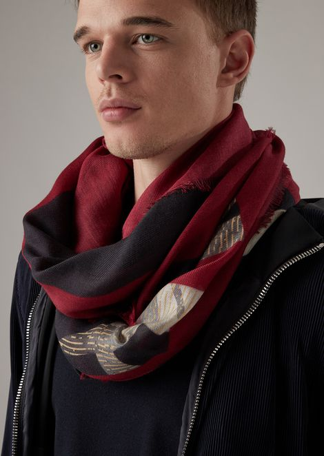 Square scarf with bamboo motif